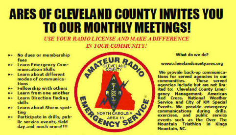 ... decided to sponsor the Cleveland County Amateur Radio Emergency Service.
